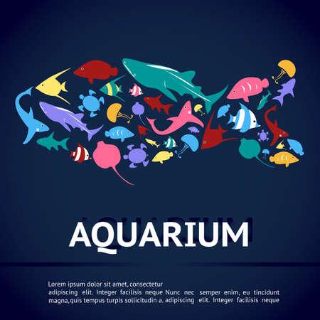 peces: Dise�o de la disposici�n bandera plantilla infograf�a acuario con tipos de Vaus icono de animales marinos como tiburones, tortugas marinas, medusas, rayos, peces mariposa, peces �ngel y otra criatura en forma de pez con el texto en fondo azul profundo del agua, crear por cinco