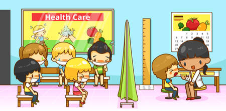tests: Cartoon physician doctor or pediatrician diagnoses group of kindergarten student children with contagious flu infection disease in school hospital ward, create by vector