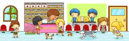 kinder: Escena linda animal del dibujo animado del hospital interior con los propietarios con lo que su gato perro y conejo para diagnosticar y curar por veterinario profesional y otras actividades divertidas en marcha, crear por el vector