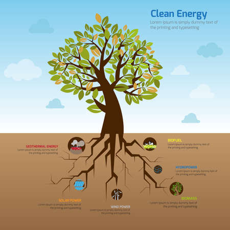 environment friendly: Illustration tree and its wide spread root representing clean energy in flat infographic diagram template design with decorative icon in blue sky of green world environment, create by vector