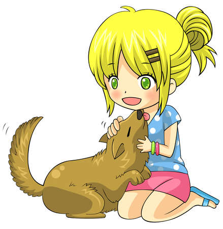 tame: Cute cartoon blond child girl character is playing and cuddling with her tame domestic pet dog in isolated background, create by vector Illustration