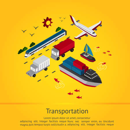 sea freight: Various transportation vehicle for tourism and logistic delivery service such as train boat sailboat truck ship plane and yacht in isometric graphic icon set in yellow background with sample text, create by vector