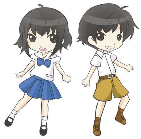 Leuke cartoon Aziatische Thaise student paar schoolmeisje en schooljongen in de regering de middelbare school uniform sprite super misvormde tekens dansen van vreugde in geïsoleerde achtergrond, creëren door vector