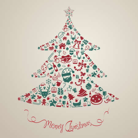 desgn: Christmas and new year ornament present decoration and object icon background badge template layout in Christmas tree shape used as celebration holiday card or website, create by vector