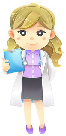 doctor and patient vector: Highly detail illustration cartoon female physician doctor in white coat uniform with stethoscope and patient information board, create by vector