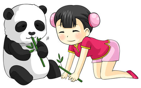 baby bear: Cute cartoon Chinese girl in cheongsam fashion dress is playing and feeding her baby pet Panda bear with bamboo leaves
