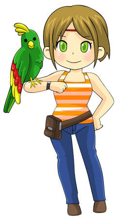 tame: Cute animal trainer girl is making a tame parrot pet bird stand on her arm
