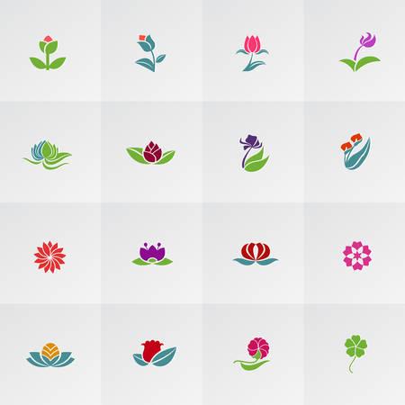 clover leaf shape: Fantasy logo shape flower such as lotus rose tulip sunflower daisy clover leaf Illustration