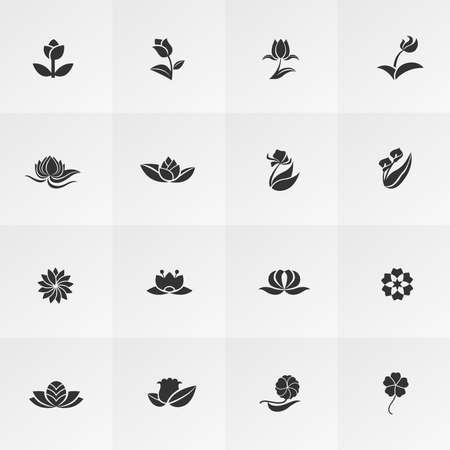 Silhouette fantasy logo shape flower such as lotus rose tulip sunflower daisy clover leaf and other icon collection set Vectores