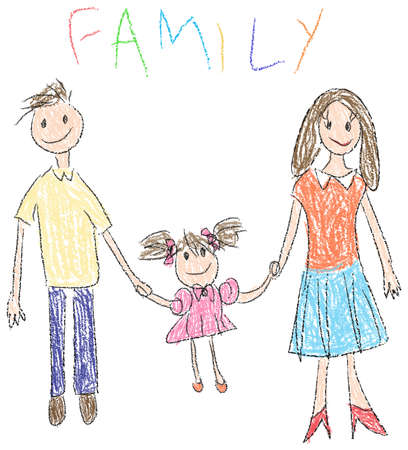 dibujo: Dibujo de un familiy feliz con el niño y sus padres en el estilo de jardín de infancia Foto de archivo