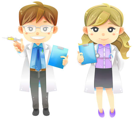 Highly detail illustration cartoon male and female physician doctor in white coat uniform with injection syringe, stethoscope, and patient information board, create by vector