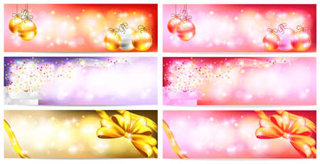 floating market: Stylish Colorful and romantic abstract magic Christmas night celebration with present box, balls, ribbon, light and sales ornament banner badge background, create by vector