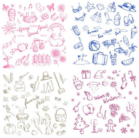 Lente zomer, herfst en winter vakantie seizoen doodle icoon van dieren, planten en bloemen, vrijetijdsbesteding en gereedschappen, en de viering festival collectie set, creëren door vector