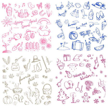 spring summer: Spring summer autumn and winter holiday season doodle icon of animal, plant and flower, leisure activities and tools, and celebration festival collection set, create by vector