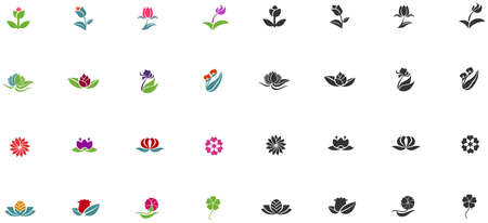 shape silhouette: Silhouette and color fantasy logo shape flower such as lotus rose tulip sunflower daisy clover leaf Illustration