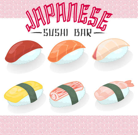 raw egg: Japanese cuisine food Sushi salmon tuna bass hamachi sweet egg prawn imitation crabmeat stick icon collection set