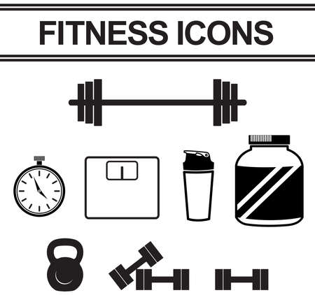 stop watch: Silhouette fitness and exercise tool such as dumbbell, stop watch, weight collection icon set, create by vector