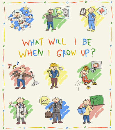 Kindergarten children color doodle drawing sketch of cartoon character job professions which they dream to be when grow up such as astronaut businessman doctor nurse sportsman pop star programmer engineer architect and teacher icon set in isolated backgro