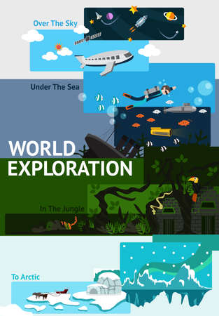 north pole: World exploration banner background badge about explorer traveling all over the world from space, sky, under deep sea, in jungle ruin, and to north pole arctic with sample text and blank space layout for website and brochure usage (vector) Illustration