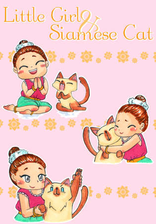 siamese: Cute cartoon character mascot illustration drawing art of traditional Thai girl child in old-fashion custume and her Siamese cat pet in different greeting action and expression to promote culture and tradition of Thailand tourism