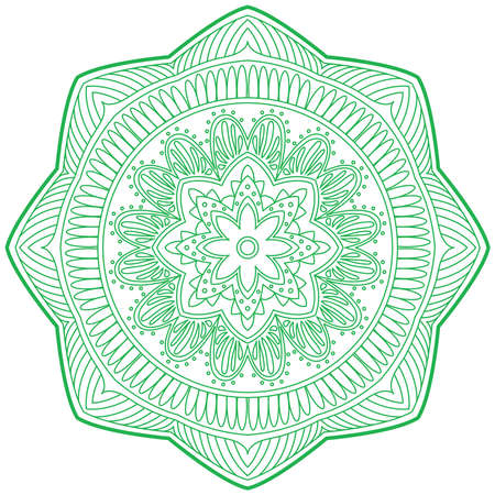 hinduism: An illustration of doodle Hinduism religion Mandala decorative, sign and symbol in white isolated background, vector Illustration