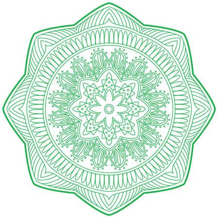 hinduismo: Una ilustración de garabato hinduismo religión Mandala decorativo, signo y símbolo en el fondo aislado blanco, vector