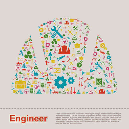 engineering tool: Civil and mechanical engineering construction site infographic banner template layout icon design of tool sign and symbol used for website with sample text, create by vector Illustration