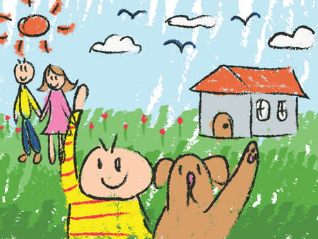 family pet: Kindergarten children color doodle drawing sketch of cartoon character of a boy with his pet dog with his family mother and father and house in nature field background, created by vector