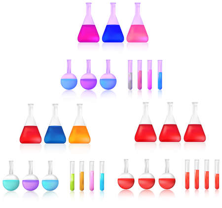 chemical substance: Colorful and red science chemical substance in chemistry test tube and beaker tool icon set for laboratory experiment use for education in isolated background, create by vector