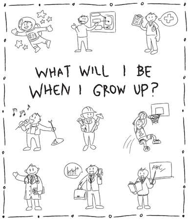 pop star: Kindergarten children pencil line doodle drawing sketch of cartoon character job professions which they dream to be when grow up such as astronaut businessman doctor nurse sportsman pop star programmer engineer architect and teacher icon set in isolated b