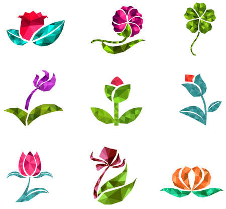 3D geometric polygon jewelry of creative crystal flower flora such as lotus daisy tulip rose clover icon gem collection set design, create by vector Vettoriali