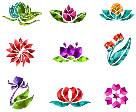 sapphires: 3D geometric polygon jewelry of creative crystal flower flora such as lotus daisy tulip rose sakura icon gem collection set design, create by vector