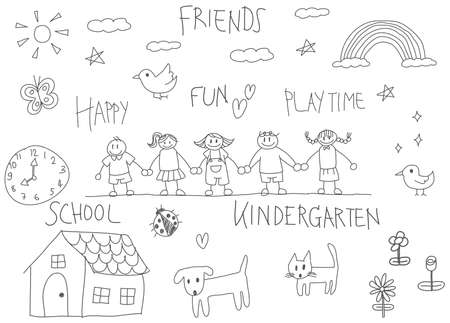 family playing: Kindergarten children pencil doodle drawing of a friend and kid imagination playing environment such as animal cat dog pet house flower rainbow and star in happy cartoon character style in white isolated background with handwriting text, created by vector