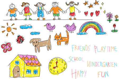 friends together: Kindergarten children doodle pencil and crayon color drawing of a friend and kid imagination playing environment such as animal cat dog pet house flower rainbow and star in happy cartoon character style in white isolated background with colorful handwriti Illustration