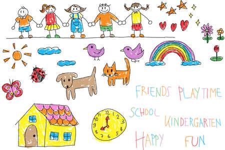 dessin: Les enfants de maternelle doodle crayon et crayon dessin en couleur d'un environnement ami et enfant imagination jouer comme animaux chat chien maison d'animal fleur arc en ciel et étoiles dans le style de personnage de dessin animé heureux en blanc, isolé, fond coloré avec handwriti Illustration
