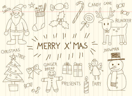 children celebration: Children doodle drawing of Christmas holiday celebration object ornament decoration toy and candy icon set in brown school notebook paper background, create by vector Illustration