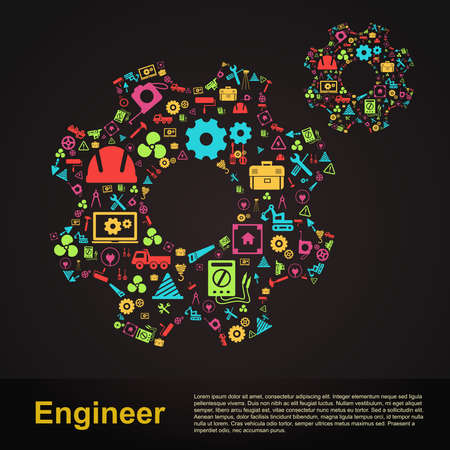 Mechanical and civil engineering gear shape infographic banner template layout icon design of profession tools sign and symbol used for website with sample text in black isolated background, create by vector