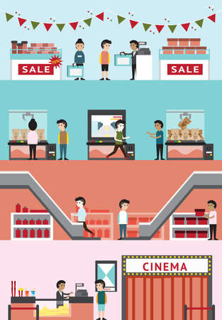 Flat cartoon department store mall building interior design and layout for cinema, seasonal sale product discount in Christmas, game center, and gift shop with customer and employee banner background, create by vector