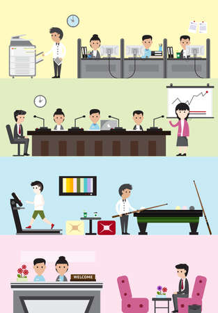 visitor: Flat business company building interior and layout for each department design such as office employee working section, meeting and presentation room, leisure and recreation relaxing for staff welfare, and reception entrance for visitor banner background,  Illustration