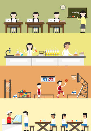 education cartoon: Flat cartoon student in school building interior and layout for each subject class such as English language classroom, science chemistry laboratory, sport  gymnasium gym physical education and cafeteria canteen for schoolboy schoolgirl children banner bac Illustration