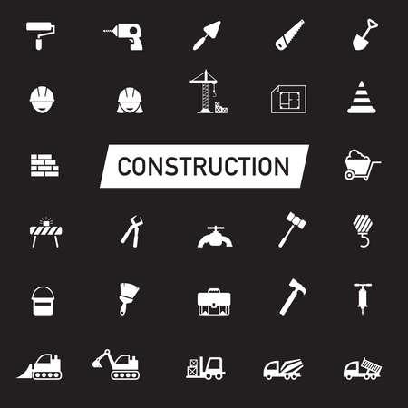 mujer trabajadora: Silueta blanca de ingeniería civil, el trabajo de mantenimiento, el transporte y la industria excavadora obra de construcción equipo herramienta gráfica signo y símbolo de conjunto de la colección icono, crear por el vector