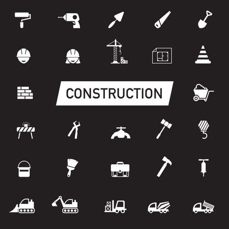 engineering tool: White silhouette Civil engineering, maintenance labor, excavator transport and construction site industry graphic tool equipment sign and symbol icon collection set, create by vector