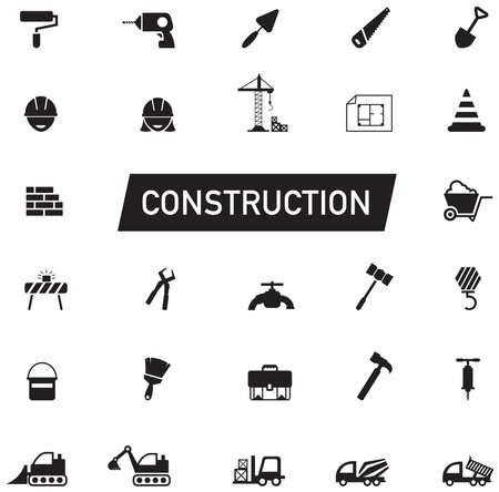 シルエット土木、メンテナンス労働者、ショベル輸送業および建設サイト業界グラフィック ツール機器記号と記号のアイコン コレクション セット