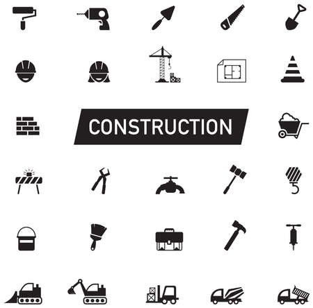Silhouette Civil engineering, maintenance labor, excavator transport and construction site industry graphic tool equipment sign and symbol icon collection set, create by vector