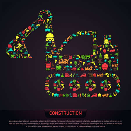 engineering tool: Civil engineering construction site infographic banner template layout icon design in excavator tractor vehicle shape of tool sign and symbol used for website button with sample text, create by vector