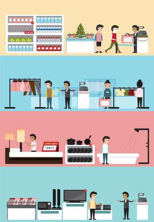 La construcción de diseño de interiores y el diseño para el supermercado, boutique de ropa para la casa, y la venta de temporada electrónica de descuento de la Navidad con el cliente y la bandera de los empleados de fondo plano centro comercial de tiendas por departamento de dibujos animados, crear por el vector