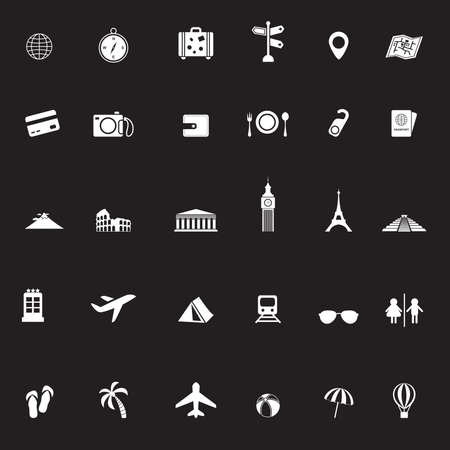 mesoamerican: Travel transportation and tourism object tool and landmark in Europe Asia Africa and north and south America continent tour in white silhouette icon collection set, create by vector Illustration