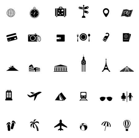 mesoamerican: Travel transportation and tourism object tool and landmark in Europe Asia Africa and north and south America continent tour in silhouette icon collection set, create by vector