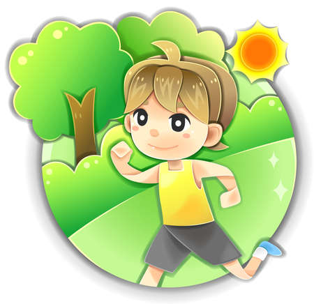summer diet: Highly detail illustration cartoon male character is running or jogging for morning exercise in the summer park for healthy life fitness and diet in isolated background