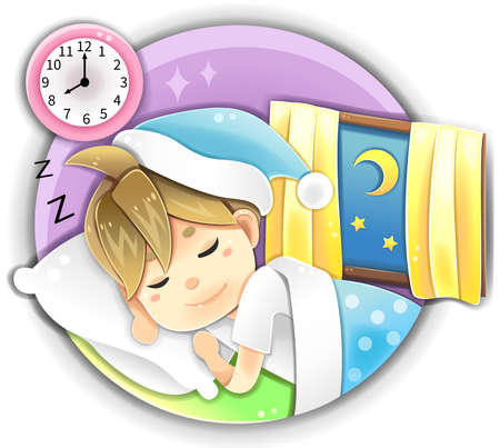 cartoon clock: Highly detail illustration cartoon male character wearing pajamas sleeping early in bed at night time showing happy peaceful facial expression for stress relief and healthy anti-aging sleep in isolated background.
